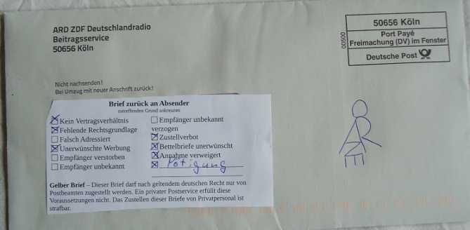 Müssen Briefe Einen Absender Haben : Petra zurückweisung beitragsservice